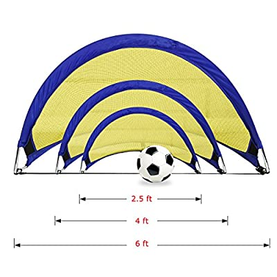 YUEBO 1 Pair PRO Pop Up Soccer Goal Set of 2 Portable Soccer Goals Nets With Carry Bag 2.5 ft,4 ft,6 ft