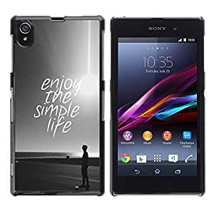 All Phone Most Case / Hard PC Metal piece Shell Slim Cover Protective Case Carcasa Funda Caso de protección para Sony Xperia Z1 L39 C6902 C6903 C6906 C6916 C6943 simple life enjoy sun black