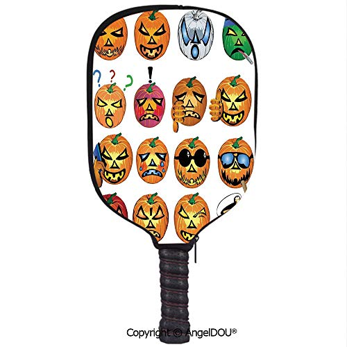 AngelDOU Halloween Decorations Waterproof Zipper Single Pickleball Paddle Racket Cover Case Carved Pumpkin with Emoji Faces Halloween Humor Hipster Monsters Art for for Most Rackets.Orange