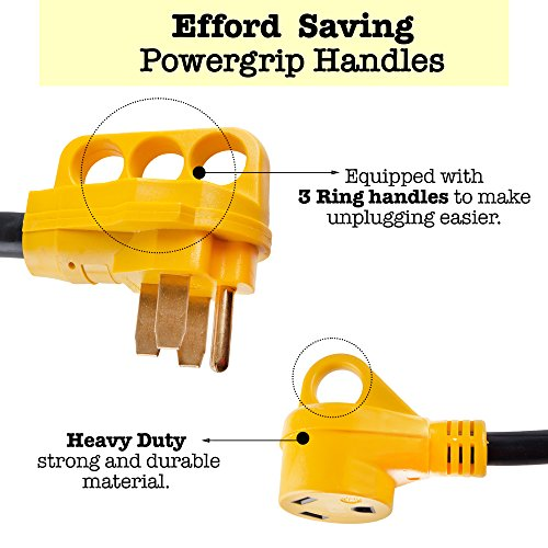 Proline Power RV Camper Y Adapter Cord with Handles - 50 Amp Male Plug to (2) 30 Amp RV Female Connectors by Proline Power (Image #1)