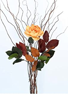 Lovely Green Floral Crafts DIY Light Peach Rose, Curly Willow And Salal   Vase NOT  Included Amazing Ideas