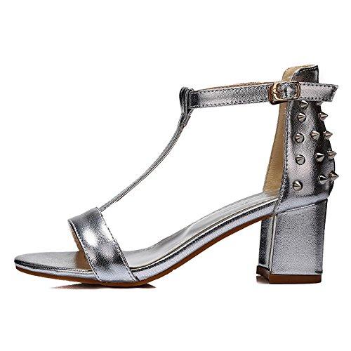 Adee Ladies lentejuelas sandalias sólida de poliuretano Plateado - plata