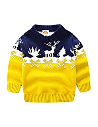 UWESPRING Kids Boy Sweater Cartoon Deer Knit Pullover Christmas Gift