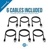 Sabrent [6-Pack] 22AWG Premium 3ft Micro USB Cables High Speed USB 2.0 A Male to Micro B Sync and Charge Cables [Black] (CB-UM63)