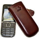 Original Suncase Tasche für / Nokia 108 Dual-SIM / Leder Etui Handytasche Ledertasche Schutzhülle Case Hülle *Speziell - Lasche mit Rückzugfunktion* In Braun