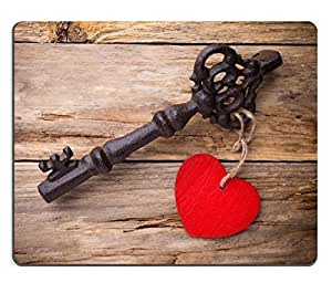 Mouse Pad Natural Rubber Mousepads Old vintage key with heart on wooden background 29523870