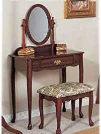 Traditional Cherry Vanity Set W/ Stool And Mirror