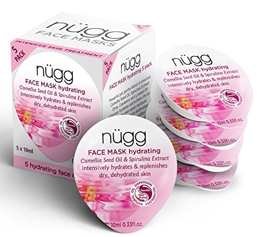 nügg Hydrating and Moisturizing Face Mask for Dry, Dehydrated and Sensitive Skin; Boosts Skin's Moisture Level and Erases Dry Spots and Flakiness; 94 Percent Natural; 5 Pack of Masks (5 x 0.33 fl.oz.)
