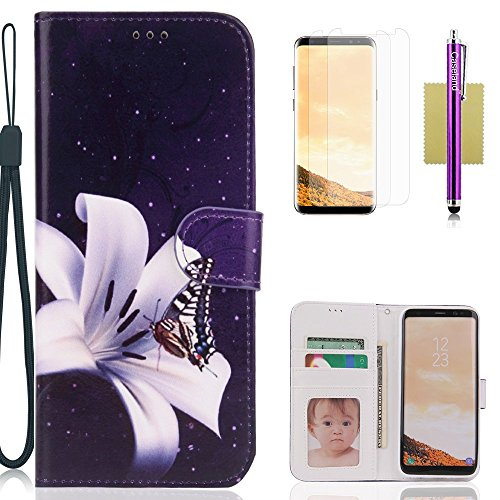 Galaxy S8 Case,CASELAND Wallet Case[Premium Design]PU Leather Flip Case Stand with Sling Case for Samsung Galaxy S8 [Regular] Lily Flower