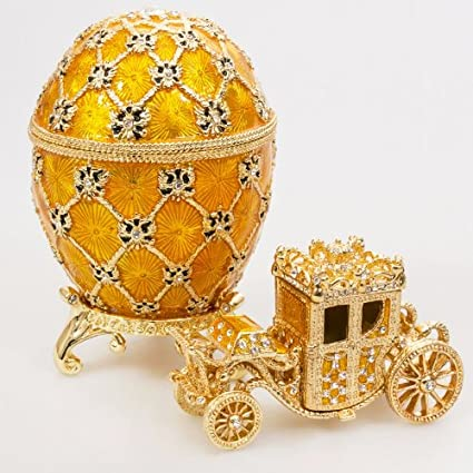 5a7d96d449811 Handmade Swarovski Crystals The Imperial Coronation Gold Plated Faberge  Style Egg Box Figurine Limited Edition Collectible Faberge Reproduction