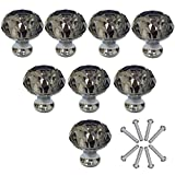 Light Gray Kitchen Cabinets Etubby 8Pcs 30mm Diamond Shaped Luxury Crystal Knobs Glass Knobs with Screws for Drawer Door, Wardrobe Door, Cupboard Door, Kitchen, Etc - Gray
