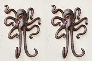 Set of 2 Octopus Wall Storage Hanging Hook Rustic Antique Nautical Decoration Cast Iron 5.6 Inches Long By 5.5 Inches Wide By 1 Inch Deep.