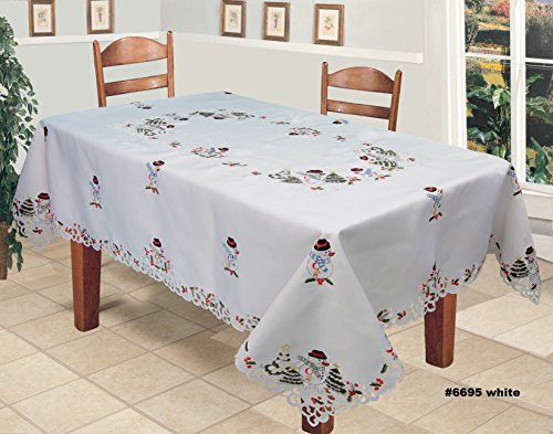 12' Die Cut Borders - Creative Linens Holiday Embroidered Snowman and Christmas Tree Table Cloth 70x140