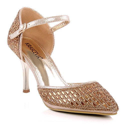 Unze Zapatos Shimmery puntiagudo Corte Mujeres Jose ' Gold