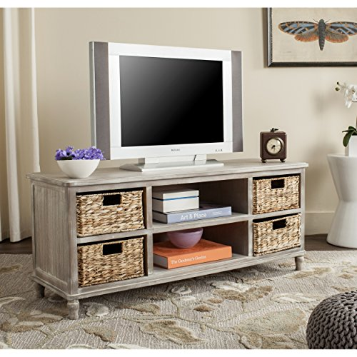 Safavieh American Homes Collection Rooney Vintage White Entertainment Unit (Baskets Table Console With)