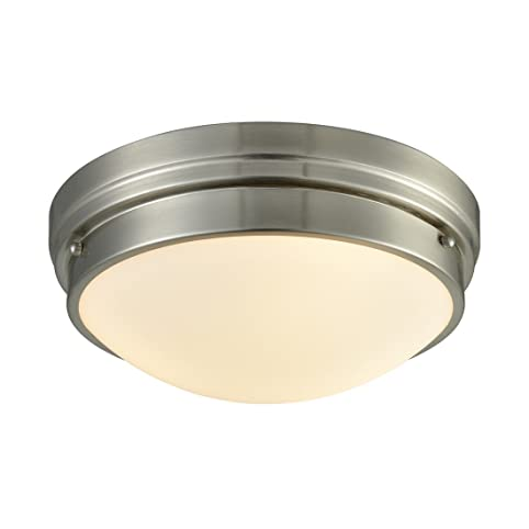 axiland flush mount ceiling light brushed nickel with glass dome
