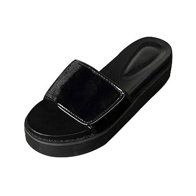 Yuanu Damen Sommer Leichtgewicht Atmungsaktiv Reine Farbe Pantoffeln Mode Casual Mid-Absatz Plateauschuhe ohne...