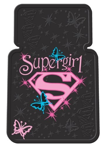 Plasticolor Supergirl Stars Style Universal-Fit Molded Front Floor Mats - Set of 2