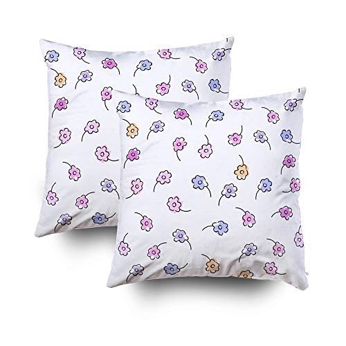 (Throw Pillow Covers,Gentel Floral Seamless Pattern Small Stylized Flowers of Violets or Daisy Pastel Colors Cute Printable Background for Wallpaper Textile Covers Apparel Fabric Invitations Scrapbook)