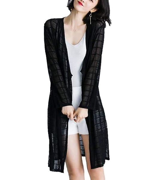 Chaqueta De Punto Largo Mujer Fácil Primavera Otoño Elegantes Tejido Fino Abrigos Color Sólido Casuales Especial Estilo Fashion Relaxed Exquisito Abrigo ...