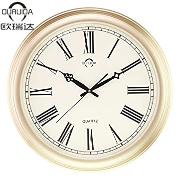 S&H Salón Sencillo Reloj de sobremesa Roma Silencio Jardín Europeo Moderno Reloj de Cuarzo,Cobre