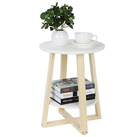 Amazon.com: Mesa auxiliar redonda, 2 niveles, moderna mesa ...