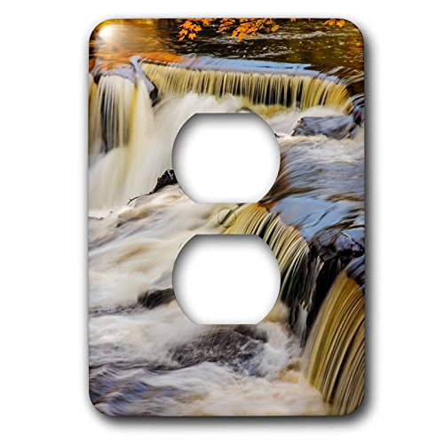 Bond Clock Metal (3dRose Danita Delimont - Waterfalls - Middle Branch of the Ontonagon River at Bond Falls Site, Michigan - Light Switch Covers - 2 plug outlet cover (lsp_279085_6))