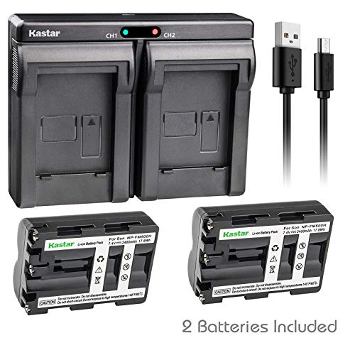 (Kastar 2X Battery + USB Dual Charger for Sony NP-FM500H Sony Alpha SLT A58 A57 A65 A77 A99 A77V A77II DSLR-A100 A200 A300 A350 A450 A500 A550 A700 A850 A900 Alpha a99 II DSLR a100 a560 a580 a58 a77II)