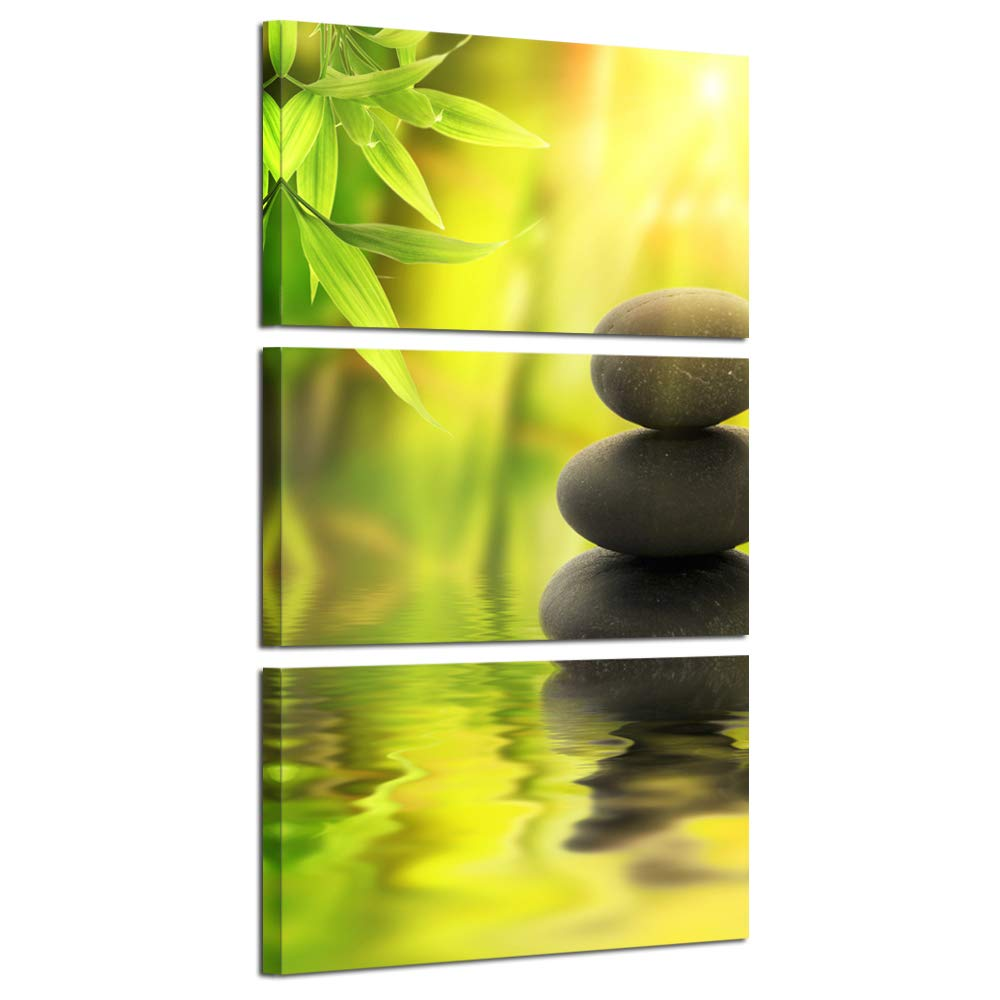 Kreative Arts Zen Stone Canvas Wall Art Spa Still Life With Green Bamboo Painting Pictures In Garden 3 Panel Vertical Giclee Art Work Contemporary