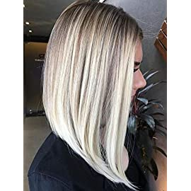 [Half-Price Sale No Return]Surprise Blonde Lace Front Wig 10 Inch Straight Short Bob Remy Human Color 10 Fading to 60 Blonde Ombre Wigs 130 Density Bob