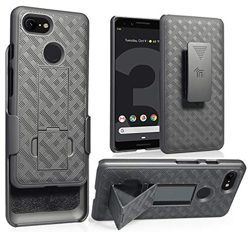 Google Pixel 3 Case with Clip, Nakedcellphone Black Kickstand Cover with [Rotating/Ratchet] Belt Hip Holster Combo for Google Pixel 3 (2018) from Nakedcellphone