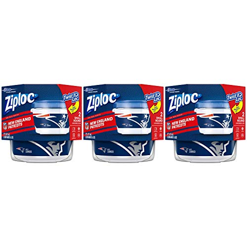Ziploc Brand NFL New England Patriots Twist 'n Loc Containers, Small, 2 ct, 3 Pack -