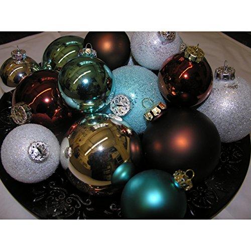 Weihnachtskugeln Set EISZEIT 16 Christbaumkugeln Glas braun silber türkis 6-8cm