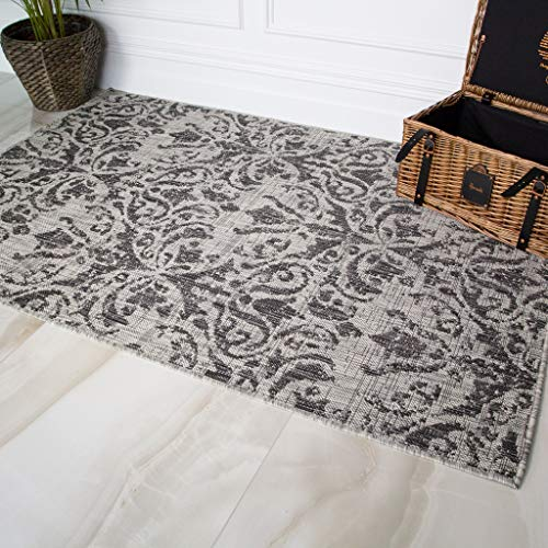 9951 Charcoal - Habitat Grey Charcoal Graphite Vintage Distressed Washable Durable Indoor Outdoor Living Rug Rugs