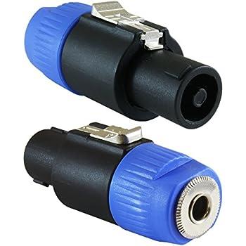 """GLS Audio Speaker Plug Adapter 1/4"""" to Twist Lock 4 Pole & 2 Pole - Compatible with Neutrik Speakon NA4LJ, NA4LJX, NL4MP, NL4MPR, NL4FC, NL4FX, NL4 & NL2 Series, NL2FC, Speak-On - 2 PACK"""