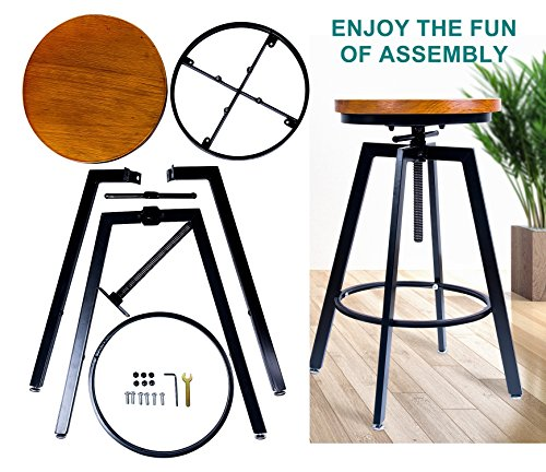 ANXITIEGONGYI Best Bar Stools, Bar Chairs for Pub Bistro Kitchen Coffee House Home, Swivel Round Wood Seat, Metal Base, Bar/Counter Height Adjustable, Set of 2, Black by ANXITIEGONGYI (Image #5)