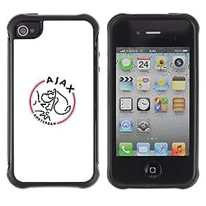 CASSO Cases / Apple Iphone 4 / 4S / AJAX SPORTS TEAM / Robusto Prueba de choques Caso Billetera cubierta Shell Armor Funda Case Cover Slim Armor