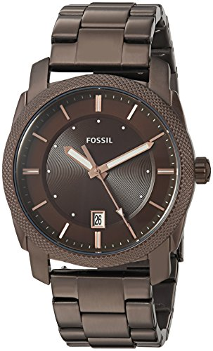 Fossil Men's Machine Quartz Watch with Stainless-Steel Strap, Brown, 22 (Model: FS5370)