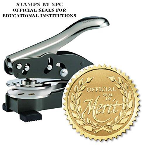 Embosser Bundle // Custom Embosser (Seal) & Premium Gold Foil Embossing Certificate Labels // Honors; Impression: 1-5/8 [SPC2CS] // Employee/Student Recognition At Work/School