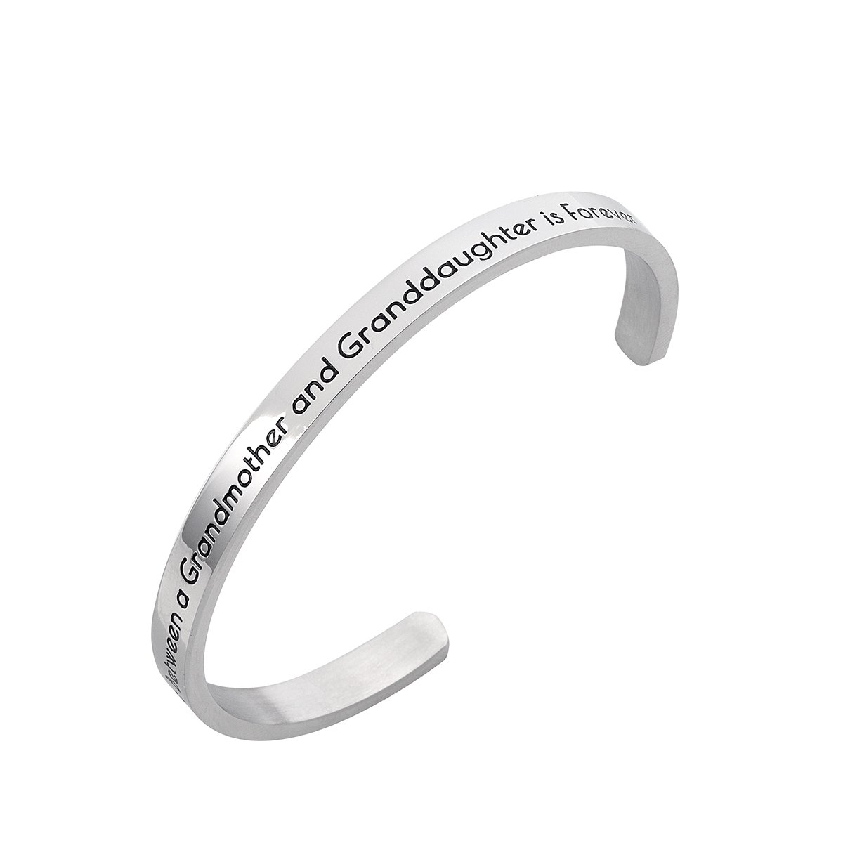 Stpower Grandmother Granddaughter Gift ''The love between a grandmother and a granddaughter is forever'' Message Cuff Bracelet