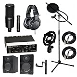 Home Recording Studio Bundle Audio Technica AT2041SP ATH-M20x AT8458 Stand Steinberg UR22MKII Samson Media ONE BT3 Speakers