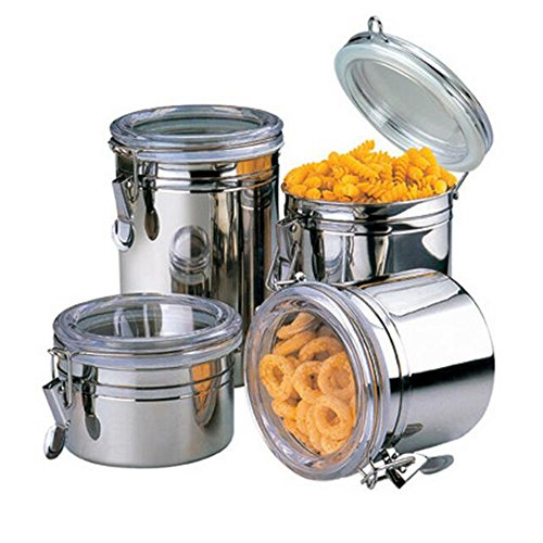 XHSP 4pcs Stainless Steel Sealed Jar Coffee Candy Nuts Storage Jar Milk Powder Tea-leaves Pots Tank (Milk Tea Pan)