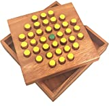 Winshare Puzzles and Games Solitaire Hexagon 37 Pegs - Strategy Wooden Game