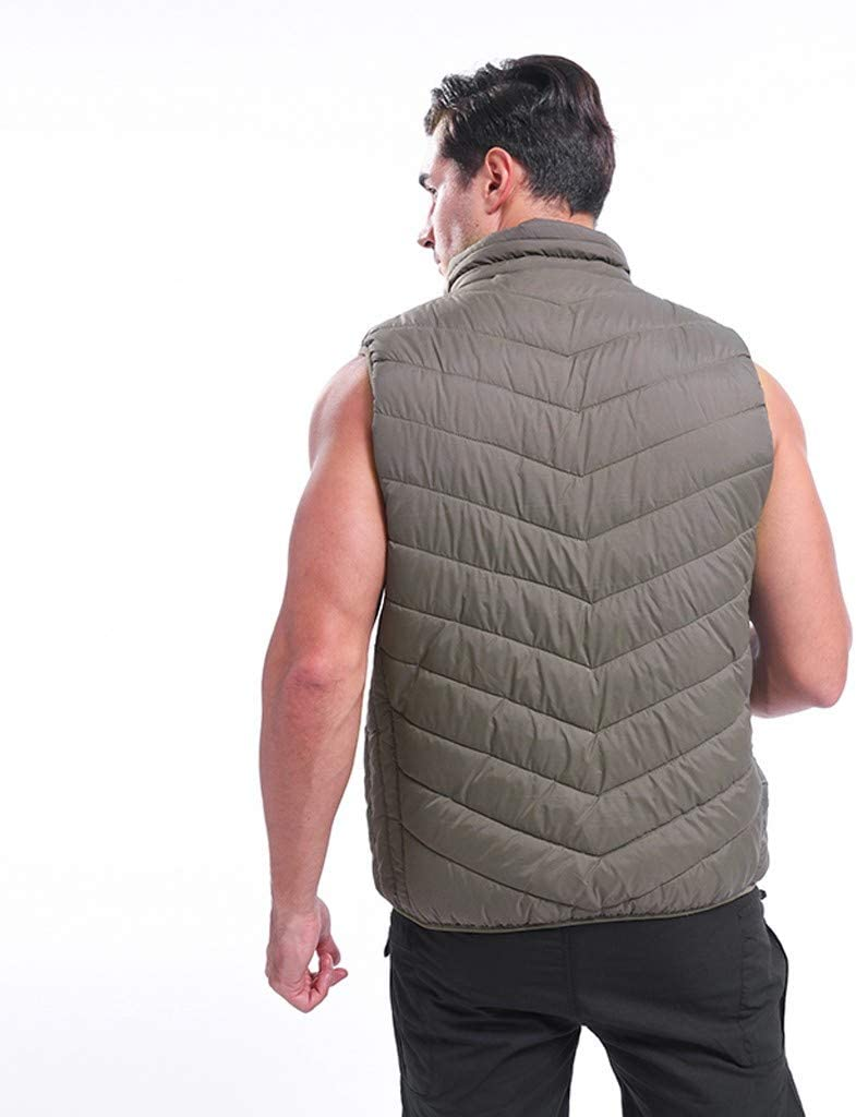 Mens Heated Vest Smart USB Electric Heating Warm Down Vest Zip Up Sleeveless Puffer Jacket Coat Winter Warm Thermal Vest