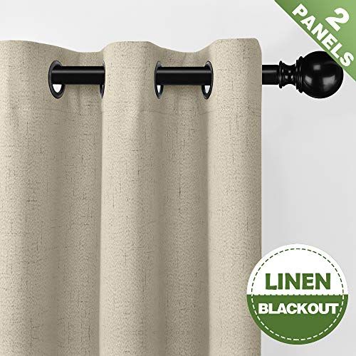 ECODECOR 100 Blackout Curtains for Bedroom 84 inch Flax Linen Curtain Panels Thermal Insulated Nursery Room Window Drapes 2 Pack Natural 52