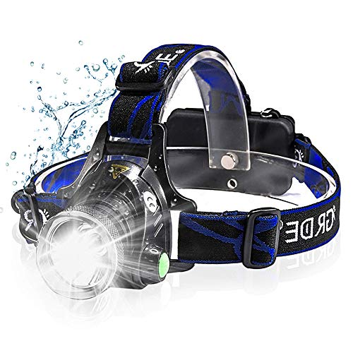 Headlamp, Pandawill LED Headlamp Rechargeable 2019 Version, Zoomable 3 Modes Super Bright 2000 Lumen LED Headlamp Flaslight Headlight USB Rechargeable Best for Camping Outdoors (Best Headlamp For Hiking 2019)
