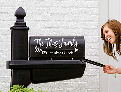 Farmhouse Mailbox Decal | Set of 2 | Name Decal for Mailbox | Mailbox Number Sticker | Personalized Mailbox ()