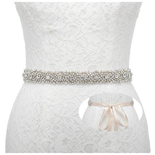 (Remedios Rhinestone Bridal Belt Bridesmaid Sash Crystal Wedding Belt Women Dress Accessories,Champagne)