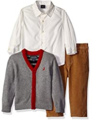 Nautica Baby Boys' Three Piece Set with Woven Shirt, Cardigan Sweater, Pant