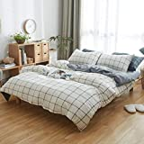 DOUH 3 Piece Duvet Cover Set Jersey Knit Cotton Home Bedding Sets 1 Duvet Cover 2 Pillow Shams Comfy Grid Pattern for Kids Adults Grey and White King Size